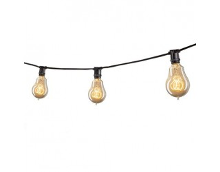 Bulbrite 810043 - STRING15/E12/BLACK-NOSA15KT - Outdoor Mini String Light w/Vintage Edison Bulbs - 25 Feet - 15 Candelabra (E12) Sockets - Black - 1,800 Kelvin