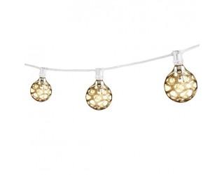 Bulbrite 810052 - STRING15/E12/WHITE-G16MAR-KT - Outdoor Mini String Light w/Incandescent G16 Marble Etched Bulbs - 25 Feet - 15 Candelabra (E12) Sockets - White - 2,300 Kelvin