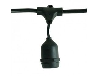 Bulbrite 810001 - STRING15/E26 - Heavy Duty String Light - 48' Long - 15 Medium (E26) Sockets - 120 Volt - Black Finish