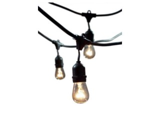 Bulbrite 810002 - STRING15/E26-S14KT - Heavy Duty String Light Set - 48' Long - 15 Medium (E26) Sockets - 120 Volt - Includes 11S14 Clear Incandescent Bulbs - Black