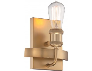 Nuvo Lighting 60/5711 - Incandescent - Indoor 1-Light Wall Sconce Fixture - Paxton Collection - Traditional Style - Natural Brass Finish - Includes Edison Type Vintage Bulbs - Medium (E26) - A19 - 40 Watt