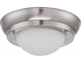 Nuvo Lighting 62/511 - LED - Indoor Ceiling Flush Mount Fixture - Poke Collection - Transitional Style - Brushed Nickel Finish - Satin White Glass - Includes LED Warm Dim Panel - 7.8 Watt - 2,700 - 2,200 Kelvin