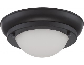 Nuvo Lighting 62/512 - LED - Indoor Ceiling Flush Mount Fixture - Poke Collection - Transitional Style - Aged Bronze Finish - Satin White Glass - Includes LED Warm Dim Panel - 7.8 Watt - 2,700 - 2,200 Kelvin