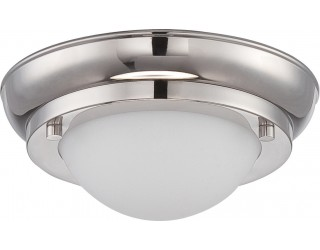 Nuvo Lighting 62/513 - LED - Indoor Ceiling Flush Mount Fixture - Poke Collection - Transitional Style - Polished Nickel Finish - Satin White Glass - Includes LED Warm Dim Panel - 7.8 Watt - 2,700 - 2,200 Kelvin