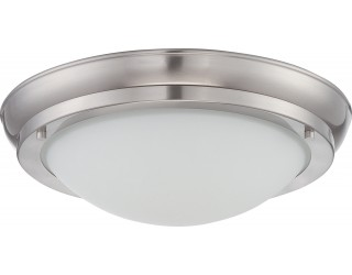 Nuvo Lighting 62/517 - LED - Indoor Ceiling Flush Mount Fixture - Poke Collection - Transitional Style - Brushed Nickel Finish - Satin White Glass - Includes LED Warm Dim Panel - 16 Watt - 2,700 - 2,200 Kelvin