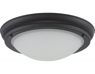Nuvo Lighting 62/518 - LED - Indoor Ceiling Flush Mount Fixture - Poke Collection - Transitional Style - Aged Bronze Finish - Satin White Glass - Includes LED Warm Dim Panel - 16 Watt - 2,700 - 2,200 Kelvin