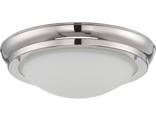 Nuvo Lighting 62/519 - LED - Indoor Ceiling Flush Mount Fixture - Poke Collection - Transitional Style - Polished Nickel Finish - Satin White Glass - Includes LED Warm Dim Panel - 16 Watt - 2,700 - 2,200 Kelvin