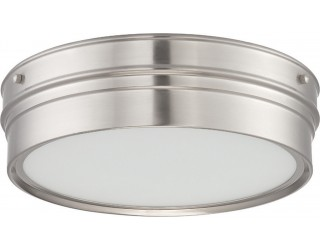 Nuvo Lighting 62/521 - LED - Indoor Ceiling Flush Mount Fixture - Ben Collection - Transitional Style - Brushed Nickel Finish - Satin White Glass - Includes LED Warm Dim Panel - 16 Watt - 2,700 - 2,200 Kelvin