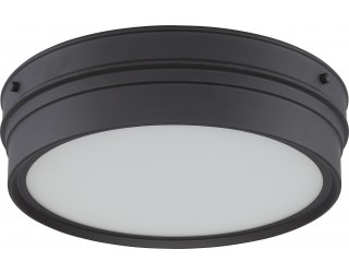Nuvo Lighting 62/522 - LED - Indoor Ceiling Flush Mount Fixture - Ben Collection - Transitional Style - Aged Bronze Finish - Satin White Glass - Includes LED Warm Dim Panel - 16 Watt - 2,700 - 2,200 Kelvin