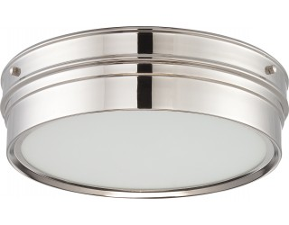 Nuvo Lighting 62/523 - LED - Indoor Ceiling Flush Mount Fixture - Ben Collection - Transitional Style - Polished Nickel Finish - Satin White Glass - Includes LED Warm Dim Panel - 16 Watt - 2,700 - 2,200 Kelvin