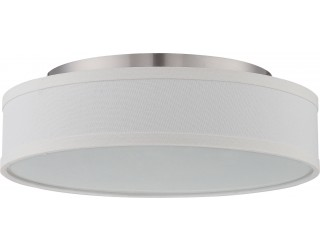 Nuvo Lighting 62/524 - LED - Indoor Ceiling Flush Mount Fixture - Heather Collection - Transitional Style - Brushed Nickel Finish - Satin White Glass - Includes LED Warm Dim Panel - 16 Watt - 2,700 - 2,200 Kelvin