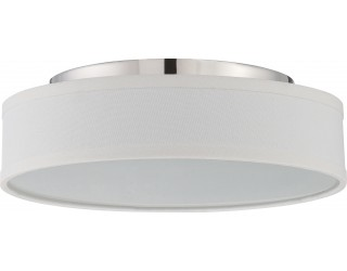 Nuvo Lighting 62/526 - LED - Indoor Ceiling Flush Mount Fixture - Heather Collection - Transitional Style - Polished Nickel Finish - Satin White Glass - Includes LED Warm Dim Panel - 16 Watt - 2,700 - 2,200 Kelvin
