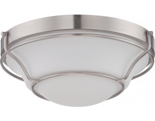 Nuvo Lighting 62/527 - LED - Indoor Ceiling Flush Mount Fixture - Baker Collection - Transitional Style - Brushed Nickel Finish - Satin White Glass - Includes LED Warm Dim Panel - 16 Watt - 2,700 - 2,200 Kelvin
