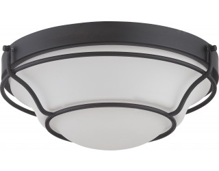 Nuvo Lighting 62/528 - LED - Indoor Ceiling Flush Mount Fixture - Baker Collection - Transitional Style - Aged Bronze Finish - Satin White Glass - Includes LED Warm Dim Panel - 16 Watt - 2,700 - 2,200 Kelvin