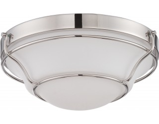 Nuvo Lighting 62/529 - LED - Indoor Ceiling Flush Mount Fixture - Baker Collection - Transitional Style - Polished Nickel Finish - Satin White Glass - Includes LED Warm Dim Panel - 16 Watt - 2,700 - 2,200 Kelvin