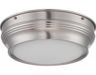 Nuvo Lighting 62/531 - LED - Indoor Ceiling Flush Mount Fixture - Lark Collection - Transitional Style - Brushed Nickel Finish - Satin White Glass - Includes LED Warm Dim Panel - 16 Watt - 2,700 - 2,200 Kelvin