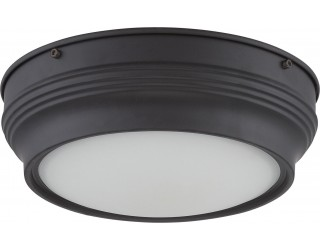 Nuvo Lighting 62/532 - LED - Indoor Ceiling Flush Mount Fixture - Lark Collection - Transitional Style - Aged Bronze Finish - Satin White Glass - Includes LED Warm Dim Panel - 16 Watt - 2,700 - 2,200 Kelvin