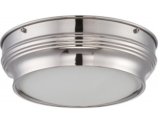 Nuvo Lighting 62/533 - LED - Indoor Ceiling Flush Mount Fixture - Lark Collection - Transitional Style - Polished Nickel Finish - Satin White Glass - Includes LED Warm Dim Panel - 16 Watt - 2,700 - 2,200 Kelvin