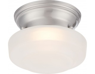 Nuvo Lighting 62/601 - LED - Indoor Ceiling Flush Mount Fixture - Bogie Collection - Transitional Style - Brushed Nickel Finish - Frosted Glass - Includes LED Warm Dim Panel - 7.8 Watt - 2,700 - 2,200 Kelvin