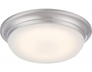 Nuvo Lighting 62/602 - LED - Indoor Ceiling Flush Mount Fixture - Libby Collection - Transitional Style - Brushed Nickel Finish - Frosted Glass - Includes LED Warm Dim Panel - 16 Watt - 2,700 - 2,200 Kelvin
