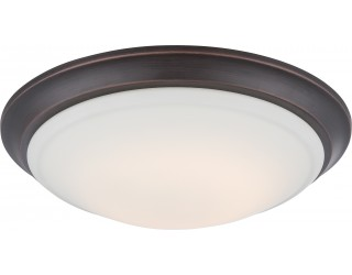 Nuvo Lighting 62/604 - LED - Indoor Ceiling Flush Mount Fixture - Carter Collection - Transitional Style - Mahogany Bronze Finish - White Acrylic - Includes LED Warm Dim Panel - 16 Watt - 2,700 - 2,200 Kelvin