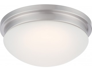 Nuvo Lighting 62/606 - LED - Indoor Ceiling Flush Mount Fixture - Spector Collection - Transitional Style - Brushed Nickel Finish - Frosted Glass - Includes LED Warm Dim Panel - 16 Watt - 2,700 - 2,200 Kelvin