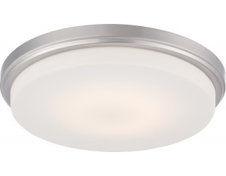 Nuvo Lighting 62/609 - LED - Indoor Ceiling Flush Mount Fixture - Dale Collection - Transitional Style - Brushed Nickel Finish - Opal Frosted Glass - Includes LED Warm Dim Panel - 16 Watt - 2,700 - 2,200 Kelvin