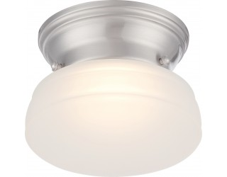 Nuvo Lighting 62/612 - LED - Indoor Ceiling Flush Mount Fixture - Bogie Collection - Transitional Style - Brushed Nickel Finish - Frosted Glass - Includes LED Warm Dim Panel - 7.8 Watt - 2,700 - 2,200 Kelvin