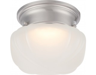 Nuvo Lighting 62/613 - LED - Indoor Ceiling Flush Mount Fixture - Bogie Collection - Transitional Style - Brushed Nickel Finish - Frosted Glass - Includes LED Warm Dim Panel - 7.8 Watt - 2,700 - 2,200 Kelvin