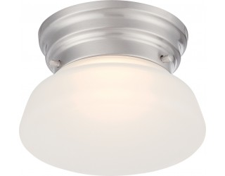 Nuvo Lighting 62/614 - LED - Indoor Ceiling Flush Mount Fixture - Bogie Collection - Transitional Style - Brushed Nickel Finish - Frosted Glass - Includes LED Warm Dim Panel - 7.8 Watt - 2,700 - 2,200 Kelvin
