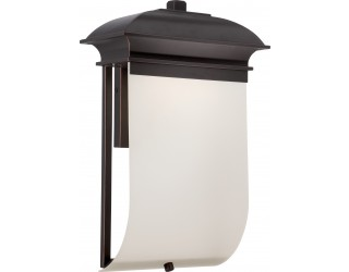 Nuvo Lighting 62/624 - LED - Outdoor Wall Fixture - Foster Collection - Transitional Style - Mahogany Bronze Finish - Sand Frosted Glass - Includes Rectangular LED Module - 12.8 Watt - 2,700 Kelvin