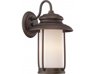 "Nuvo Lighting 62/631 - LED - Outdoor Wall Fixture - Bethany Collection - Transitional Style - Mahogany Bronze Finish - Satin White Glass - Includes Omni ""A"" Bulb - Twist and Lock (GU24) - 9.8 Watt - 2,700 Kelvin"