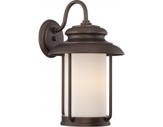 "Nuvo Lighting 62/632 - LED - Outdoor Wall Fixture - Bethany Collection - Transitional Style - Mahogany Bronze Finish - Satin White Glass - Includes Omni ""A"" Bulb - Twist and Lock (GU24) - 9.8 Watt - 2,700 Kelvin"