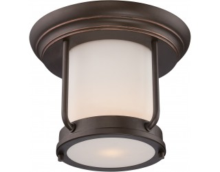 "Nuvo Lighting 62/633 - LED - Outdoor Ceiling Fixture - Bethany Collection - Transitional Style - Mahogany Bronze Finish - Satin White Glass - Includes Omni ""A"" Bulb - Twist and Lock (GU24) - 9.8 Watt - 2,700 Kelvin"