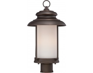 "Nuvo Lighting 62/634 - LED - Outdoor Post Light Fixture - Bethany Collection - Transitional Style - Mahogany Bronze Finish - Satin White Glass - Includes Omni ""A"" Bulb - Twist and Lock (GU24) - 9.8 Watt - 2,700 Kelvin"