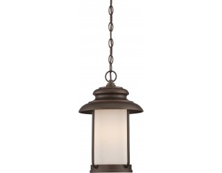 "Nuvo Lighting 62/635 - LED - Outdoor Hanging Ceiling Fixture - Bethany Collection - Transitional Style - Mahogany Bronze Finish - Satin White Glass - Includes Omni ""A"" Bulb - Twist and Lock (GU24) - 9.8 Watt - 2,700 Kelvin"