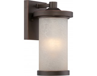 "Nuvo Lighting 62/641 - LED - Outdoor Wall Fixture - Diego Collection - Transitional Style - Mahogany Bronze Finish - Satin Amber Glass - Includes Omni ""A"" Bulb - Twist and Lock (GU24) - 9.8 Watt - 2,700 Kelvin"