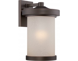 "Nuvo Lighting 62/642 - LED - Outdoor Wall Fixture - Diego Collection - Transitional Style - Mahogany Bronze Finish - Satin Amber Glass - Includes Omni ""A"" Bulb - Twist and Lock (GU24) - 9.8 Watt - 2,700 Kelvin"