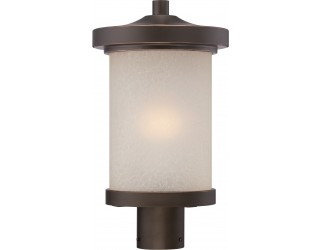 "Nuvo Lighting 62/644 - LED - Outdoor Post Light Fixture - Diego Collection - Transitional Style - Mahogany Bronze Finish - Satin Amber Glass - Includes Omni ""A"" Bulb - Twist and Lock (GU24) - 9.8 Watt - 2,700 Kelvin"