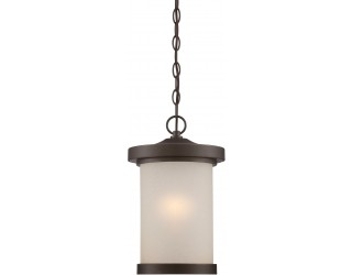 """Nuvo Lighting 62/645 - LED - Outdoor Hanging Ceiling Fixture - Diego Collection - Transitional Style - Mahogany Bronze Finish - Satin Amber Glass - Includes Omni """"A"""" Bulb - Twist and Lock (GU24) - 9.8 Watt - 2,700 Kelvin"""