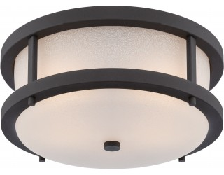 "Nuvo Lighting 62/653 - LED - Outdoor Hanging Ceiling Fixture - Willis Collection - Transitional Style - Textured Black Finish - Antique White Glass - Includes Omni ""A"" Bulb - Twist and Lock (GU24) - 9.8 Watt - 2,700 Kelvin"