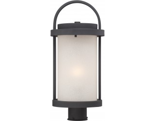 "Nuvo Lighting 62/654 - LED - Outdoor Post Light Fixture - Willis Collection - Transitional Style - Textured Black Finish - Antique White Glass - Includes Omni ""A"" Bulb - Twist and Lock (GU24) - 9.8 Watt - 2,700 Kelvin"