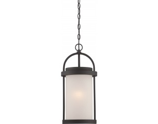 "Nuvo Lighting 62/655 - LED - Outdoor Hanging Ceiling Fixture - Willis Collection - Transitional Style - Textured Black Finish - Antique White Glass - Includes Omni ""A"" Bulb - Twist and Lock (GU24) 9.8 Watt - 2,700 Kelvin"