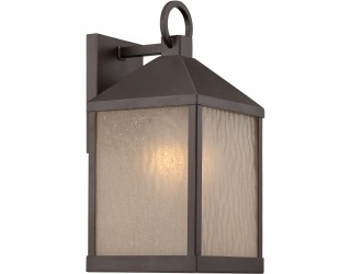"Nuvo Lighting 62/661 - LED - Outdoor Wall Fixture - Haven Collection - Transitional Style - Mahogany Bronze Finish - Sanded Tea Stain Glass - Includes Omni ""A"" Bulb - Twist and Lock (GU24) - 9.8 Watt - 2,700 Kelvin"