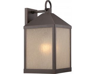 "Nuvo Lighting 62/662 - LED - Outdoor Wall Fixture - Haven Collection - Transitional Style - Mahogany Bronze Finish - Sanded Tea Stain Glass - Includes Omni ""A"" Bulb - Twist and Lock (GU24) - 9.8 Watt - 2,700 Kelvin"