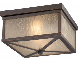 """Nuvo Lighting 62/663 - LED - Outdoor Ceiling Fixture - Haven Collection - Transitional Style - Mahogany Bronze Finish - Sanded Tea Stain Glass - Includes Omni """"A"""" Bulb - Twist and Lock (GU24) - 9.8 Watt - 2,700 Kelvin"""