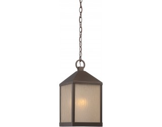 """Nuvo Lighting 62/665 - LED - Outdoor Hanging Ceiling Fixture - Haven Collection - Transitional Style - Mahogany Bronze Finish - Sanded Tea Stain Glass - Includes Omni """"A"""" Bulb - Twist and Lock (GU24) - 9.8 Watt - 2,700 Kelvin"""