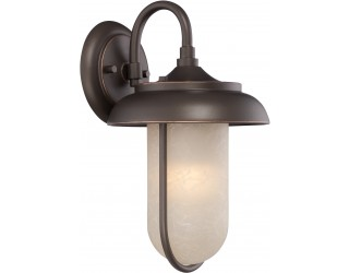 "Nuvo Lighting 62/671 - LED - Outdoor Wall Fixture - Tulsa Collection - Transitional Style - Mahogany Bronze Finish - Satin Amber Glass - Includes Omni ""A"" Bulb - Twist and Lock (GU24) - 9.8 Watt - 2,700 Kelvin"