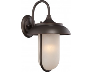 "Nuvo Lighting 62/672 - LED - Outdoor Wall Fixture - Tulsa Collection - Transitional Style - Mahogany Bronze Finish - Satin Amber Glass - Includes Omni ""A"" Bulb - Twist and Lock (GU24) - 9.8 Watt - 2,700 Kelvin"