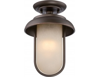 "Nuvo Lighting 62/673 - LED - Outdoor Ceiling Fixture - Tulsa Collection - Transitional Style - Mahogany Bronze Finish - Satin Amber Glass - Includes Omni ""A"" Bulb - Twist and Lock (GU24) - 9.8 Watt - 2,700 Kelvin"